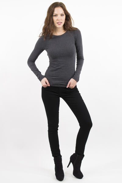 Basic Long Sleeve Crew Neck Cotton Top - Charcoal