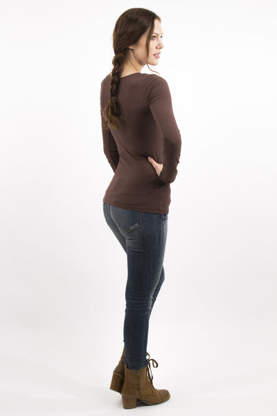 Basic Long Sleeve V-Neck Cotton Top - Brown