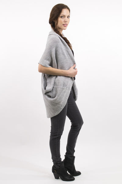 Gray Knitted Shawl Cardigan W/ Pockets