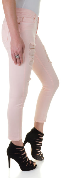 Angry Rabbit Womens Low Rise Light Pink Ripped Stretch Skinny Jeans Ankle Capri