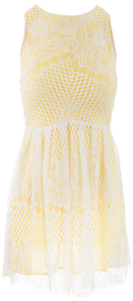 Chantilly Lace Dress - Yellow
