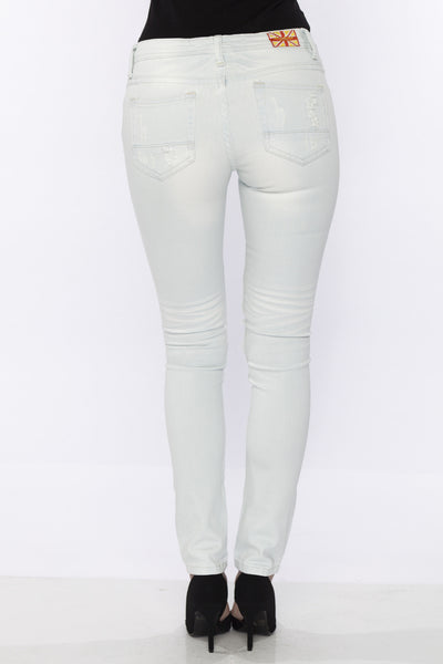 Mid Rise Bleached White Distressed Ripped Stretch Skinny Jeans w/ Back Pocket Detail by Machine Jeans