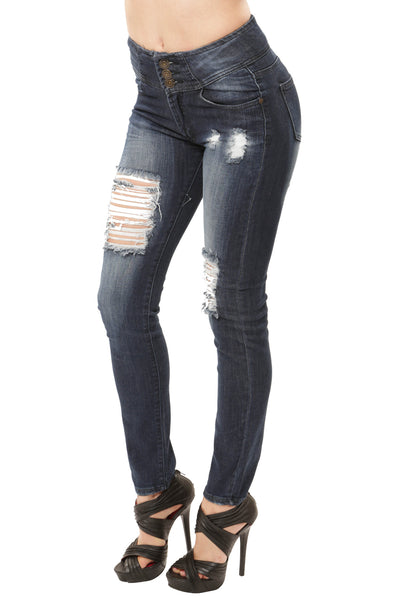 3 Button High Waist Skinny Jean - Dark Wash By Machine Jeans