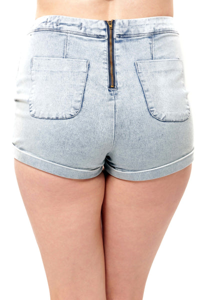 High Waist Zipper Short - Light Blue