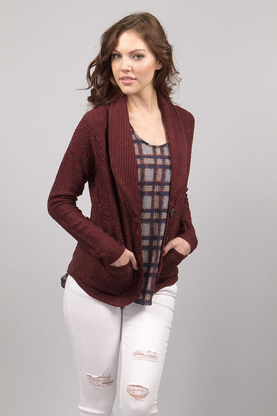 Michelle Blazer Cardigan - Burgundy by Prima Collection