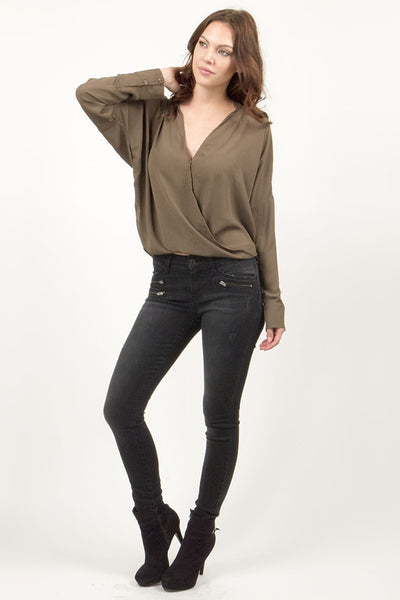 Long Sleeve Crossover Draped Chiffon Blouse - Olive