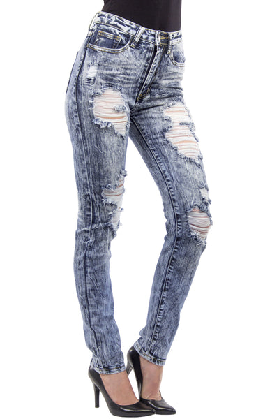 High Waist Extreme Acid Wash Distressed Skinny Jean - Medium Wash by Machine Jeans