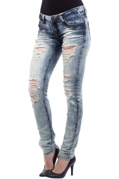 Low Rise Heavy Acid Wash Destroyed Skinny Jean by Machine Jeans