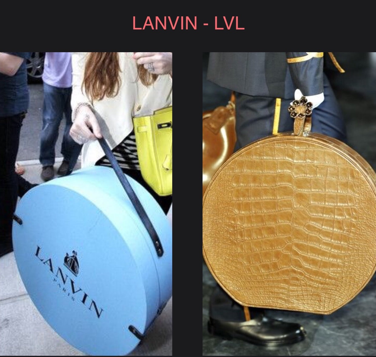 Lanvin round hat box Louis Vuitton round luggage