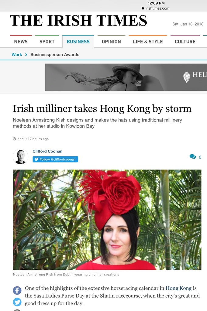 Irish Milliner NOELEEN in Irish Times Newspaper