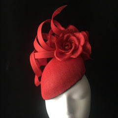 Orange/Red swirl headpiece - NOELEEN MILLINERY HONG KONG