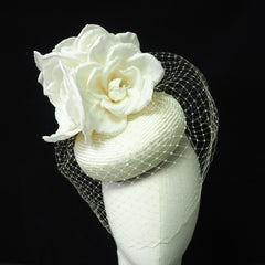Cream parisisal and silk headpiece - NOELEEN MILLINERY HONG KONG