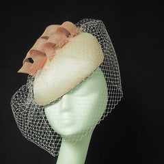 Silk & Straw Beret hat with Bird Cage Veil - NOELEEN MILLINERY HONG KONG
