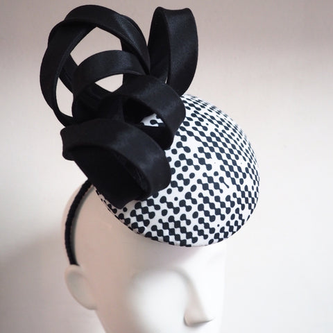 Modern polka dot black & white percher hat - NOELEEN MILLINERY HONG KONG