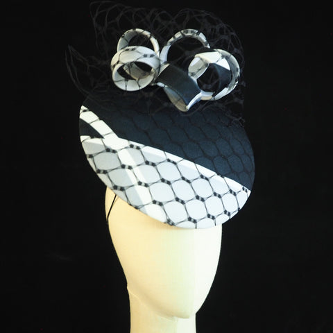 Graphic Percher - Black, grey and White Modern percher hat - NOELEEN MILLINERY HONG KONG