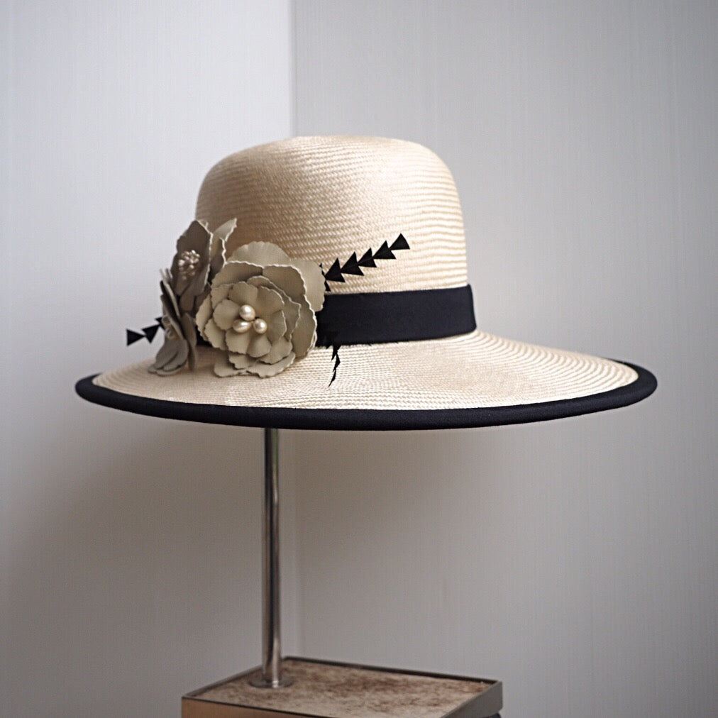 Cream & Black Straw and Satin Hat - NOELEEN MILLINERY HONG KONG