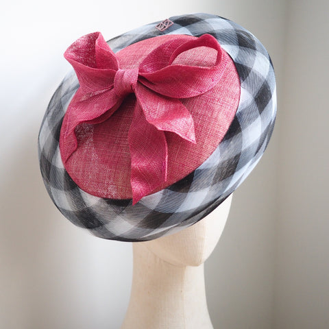 Checker -  Classic style disk hat with sculpted bow - NOELEEN MILLINERY HONG KONG