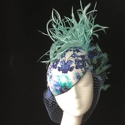 Beret style silk hat with birdcage veil and butterflies - NOELEEN MILLINERY HONG KONG