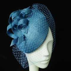 Blue Beret - With contemporary swirls - NOELEEN MILLINERY HONG KONG