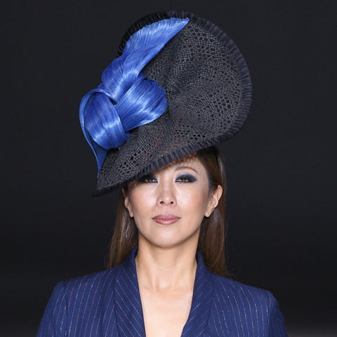 Doris - Large Straw and Silk Statement hat. - NOELEEN MILLINERY HONG KONG