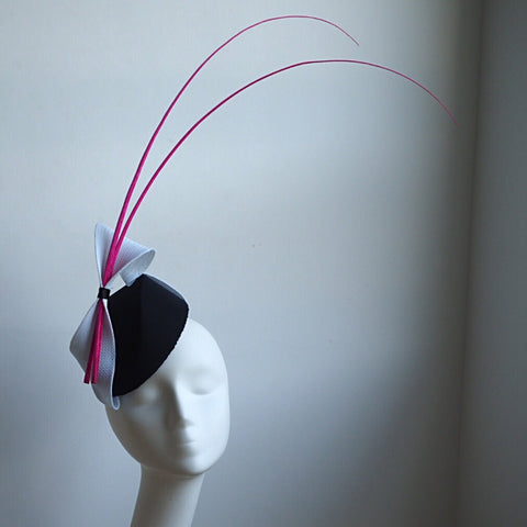 Black White Percher Hat with Hot pink ostrich spines - NOELEEN MILLINERY HONG KONG