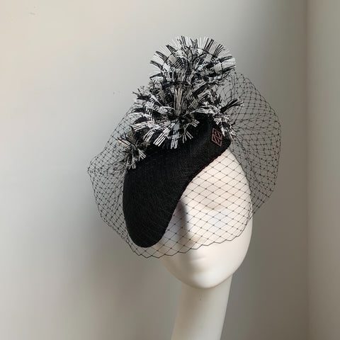 Unity - Black White statement headpiece - NOELEEN MILLINERY HONG KONG