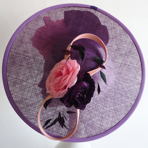 Large Derby Ladies Dat Hat with handcrafted silk roses - - NOELEEN MILLINERY HONG KONG