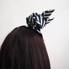 Chevron Chic - Chevron stripe black and white Cocktail Hat/Mini Hat - NOELEEN MILLINERY HONG KONG