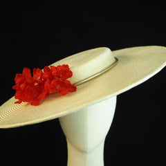 Eugenie - Shallow crown Bergere style hat with silk flower blossoms - NOELEEN MILLINERY HONG KONG