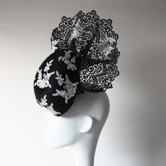 Elegant Attitude - Made to order. Can create in various colours and material  Couture Sophisticated Headpiece - NOELEEN MILLINERY HONG KONG