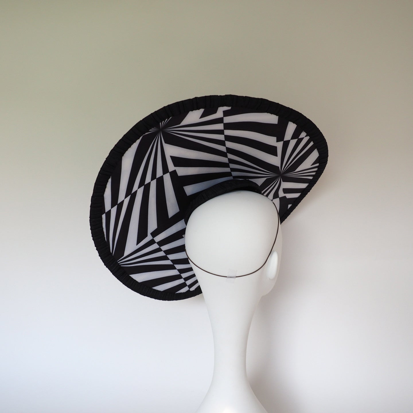 Escher Black and White Derby Hat  - Can be made in other colours - NOELEEN MILLINERY HONG KONG