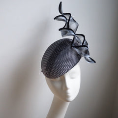 Black White Beret hat with modern design features - NOELEEN MILLINERY HONG KONG