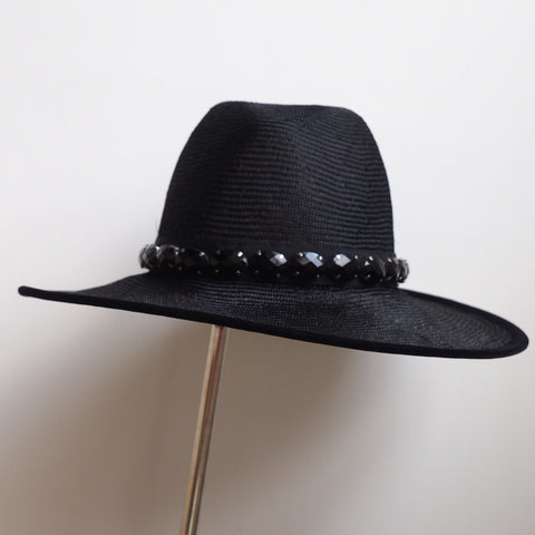 Black fine straw hat encrusted with black jewels - NOELEEN MILLINERY HONG KONG