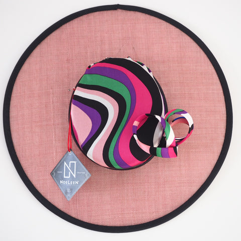 Beatrice - Multicolour stripe swirl silk & straw hat - NOELEEN MILLINERY HONG KONG