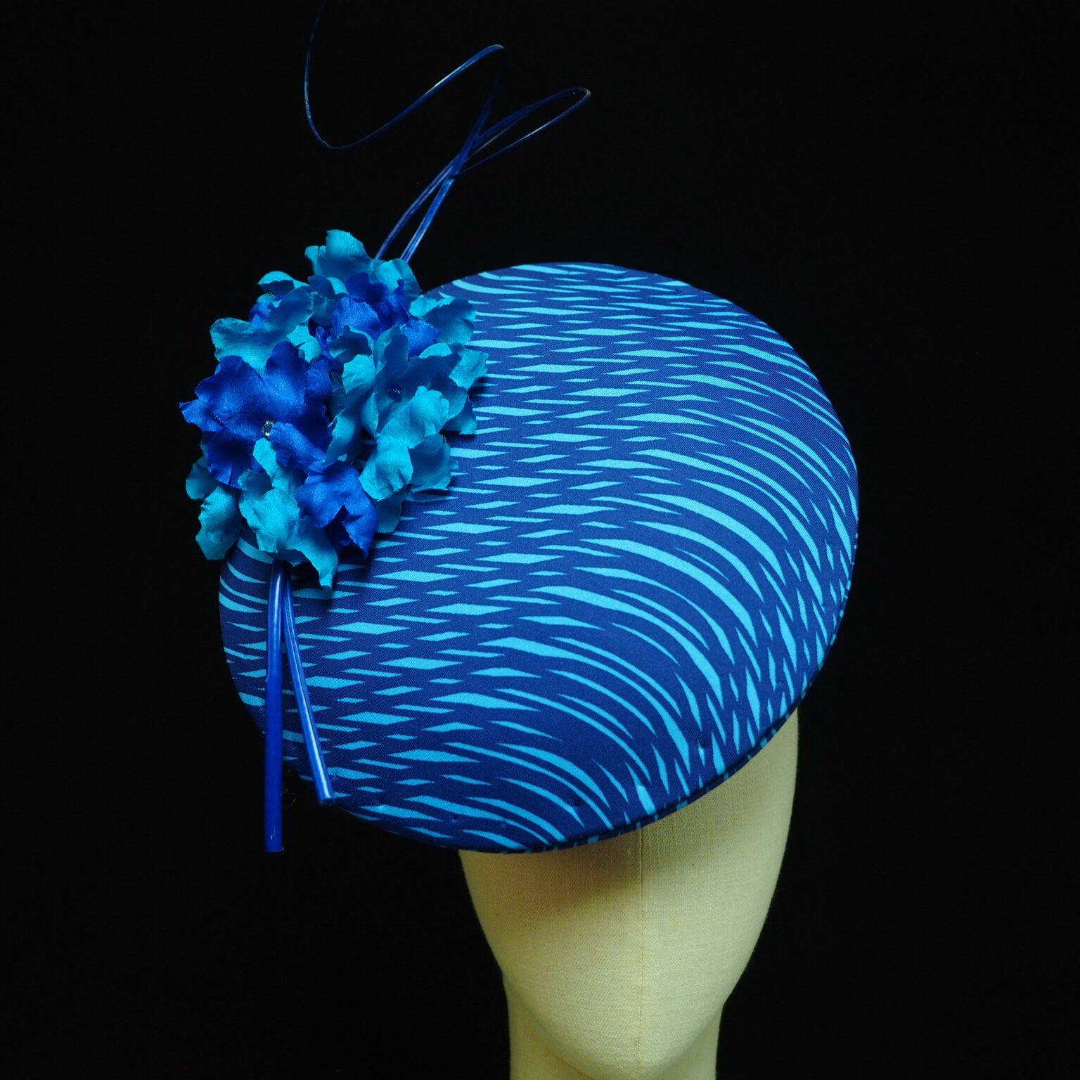 Blue Blossom - two tone Blue Percher style hat - NOELEEN MILLINERY HONG KONG