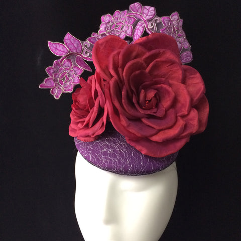 Mairead - Purple and red/plum silk button headpiece - NOELEEN MILLINERY HONG KONG