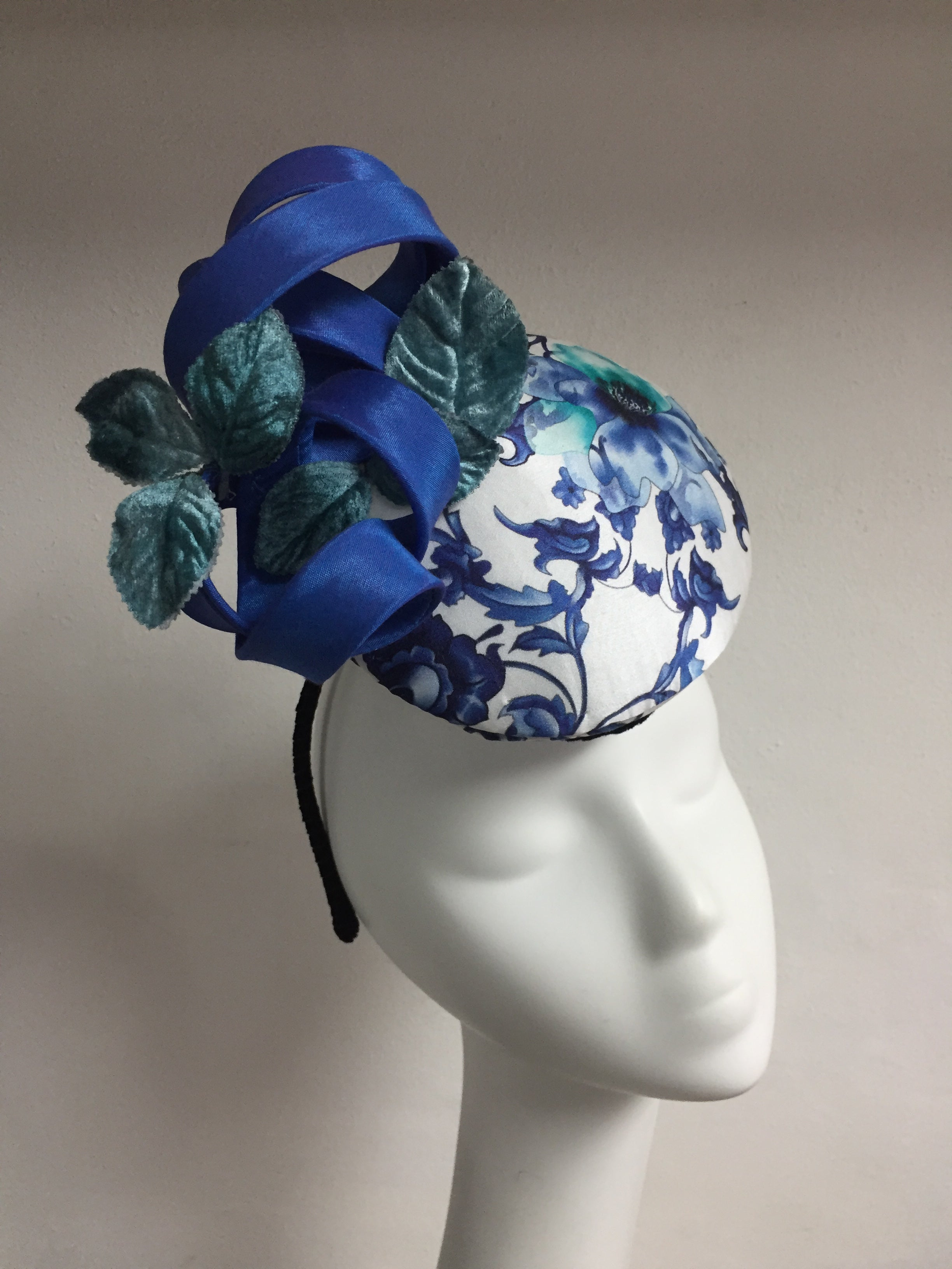 Shanghai - Blue, white and mint green Percher style hat - NOELEEN MILLINERY HONG KONG