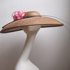 Large wide brim oval and silk hat - NOELEEN MILLINERY HONG KONG