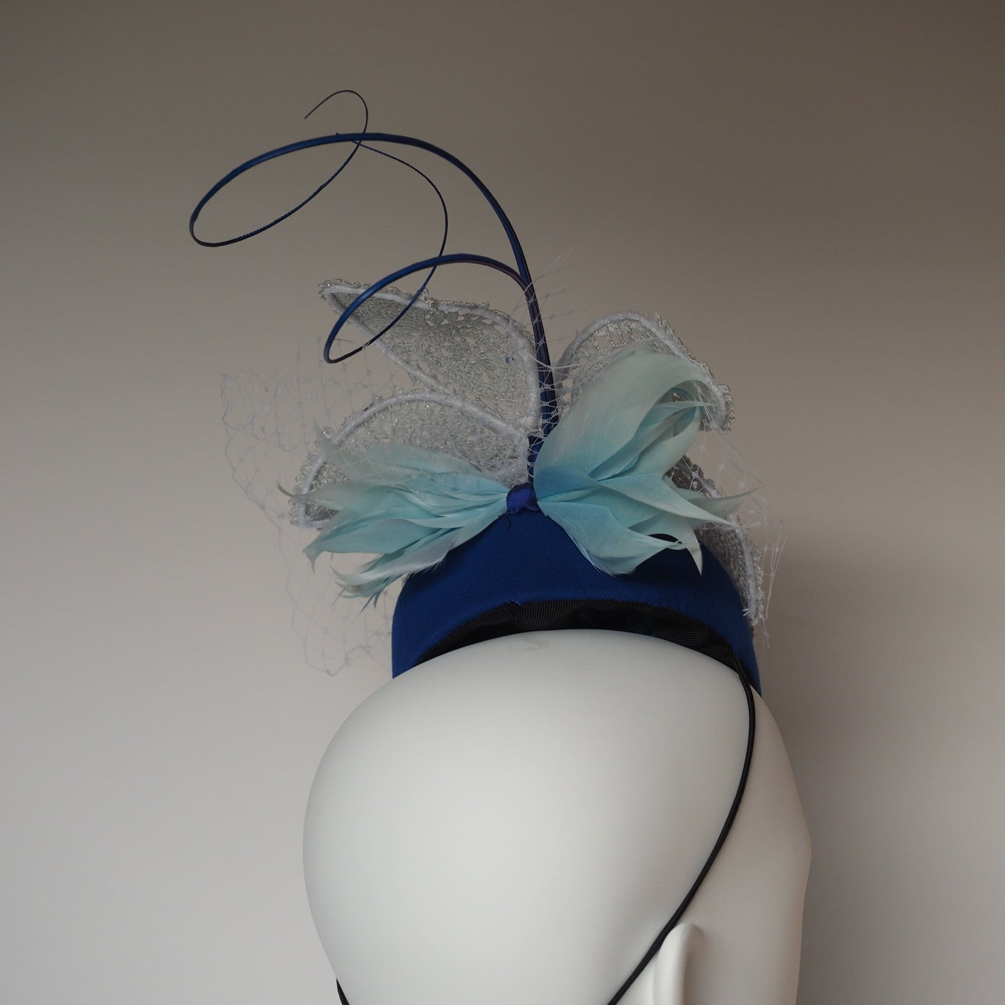 Glamorous lace Headpiece - Made to Order in any colour or material - NOELEEN MILLINERY HONG KONG