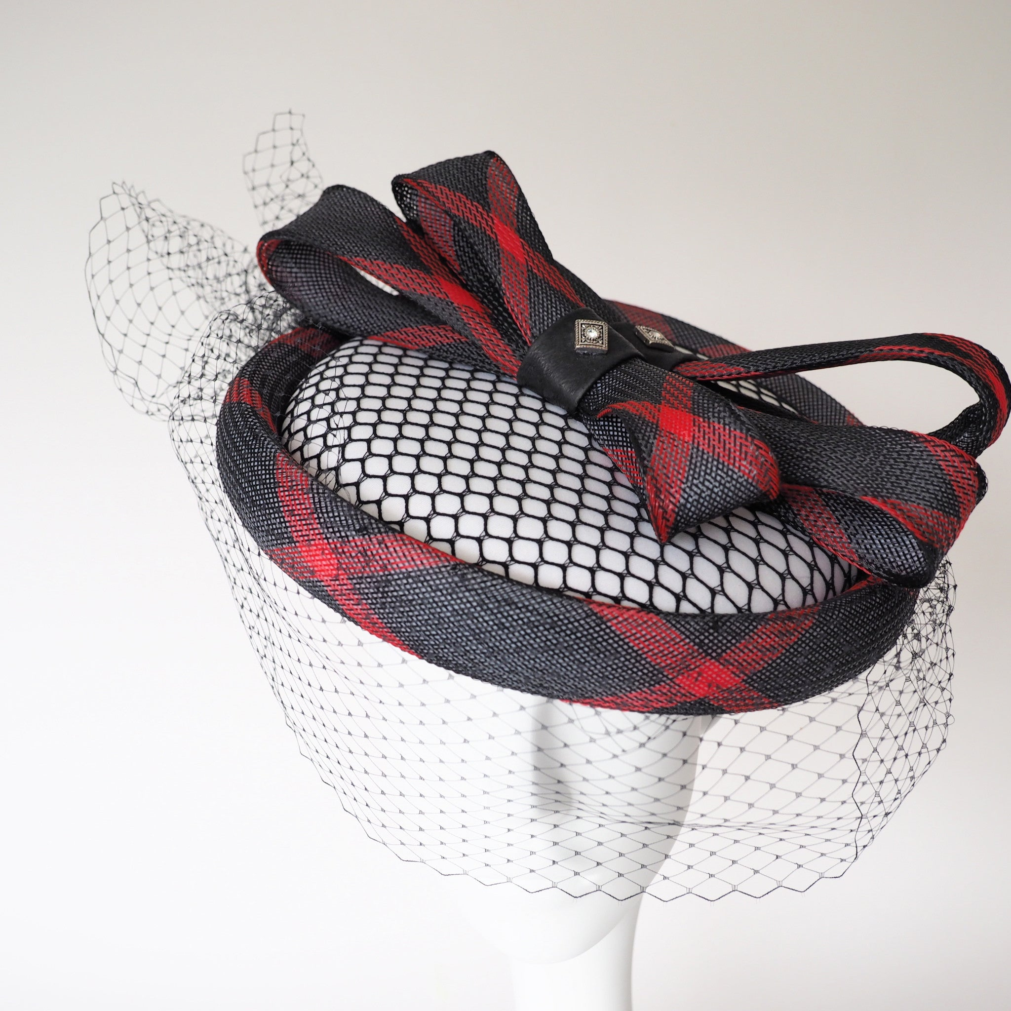 Red and Black Derby Hat - Made to Order Red, black & white Nostalgic hat - Can be recreated in other colours - NOELEEN MILLINERY HONG KONG
