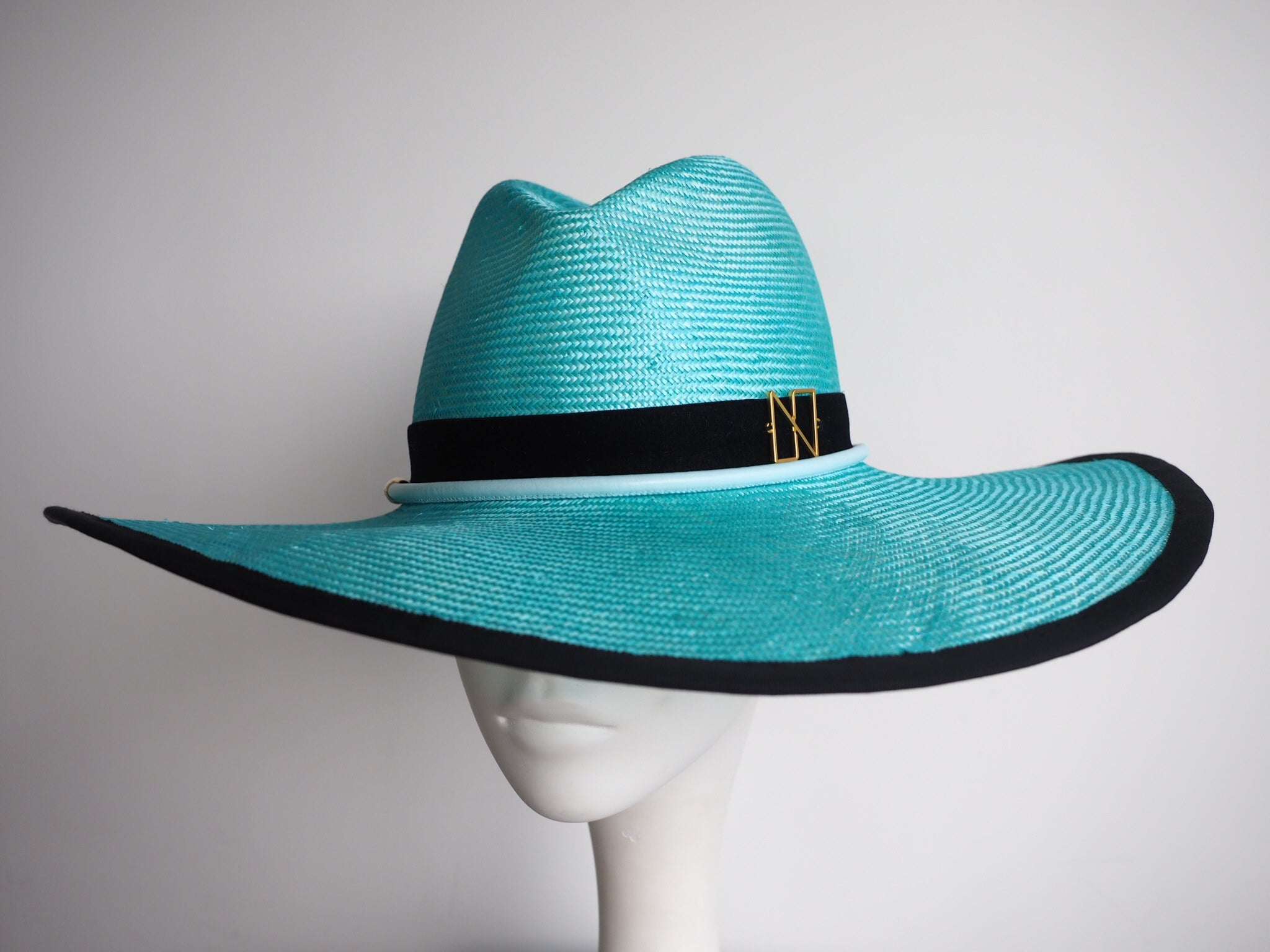 Sage - Large Brim light green fedora hat handcrafted in Hong Kong - Designer Hats - NOELEEN MILLINERY HONG KONG