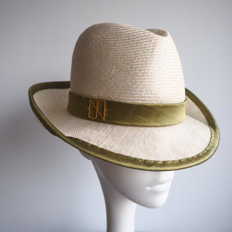 Daylily - Handcrafted Luxury Lifestyle Trilby Straw Hat, finished in silk. - NOELEEN MILLINERY HONG KONG