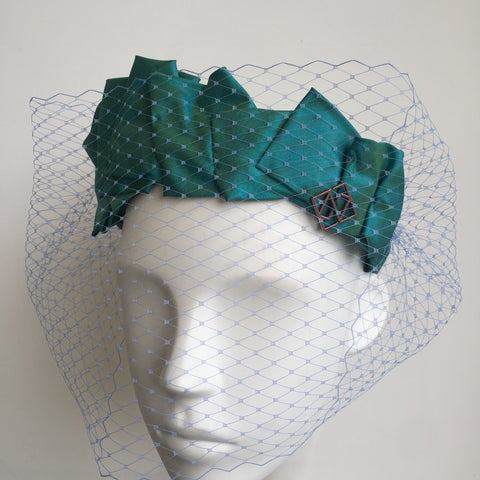 Silk draped Head Band - Green Modern Contemporary Draped Headband - NOELEEN MILLINERY HONG KONG