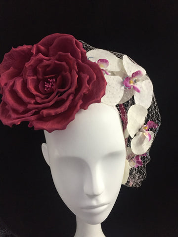 Laelia - Handcrafted Silk Rose and orchids on a headband - NOELEEN MILLINERY HONG KONG