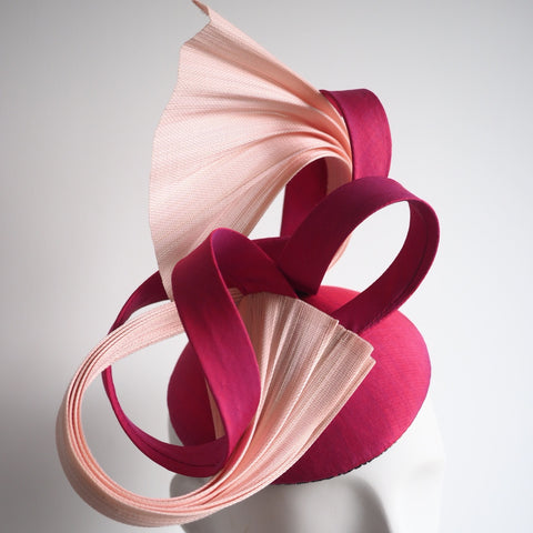 Pink two tone silk Chic elegant sophisticated hat