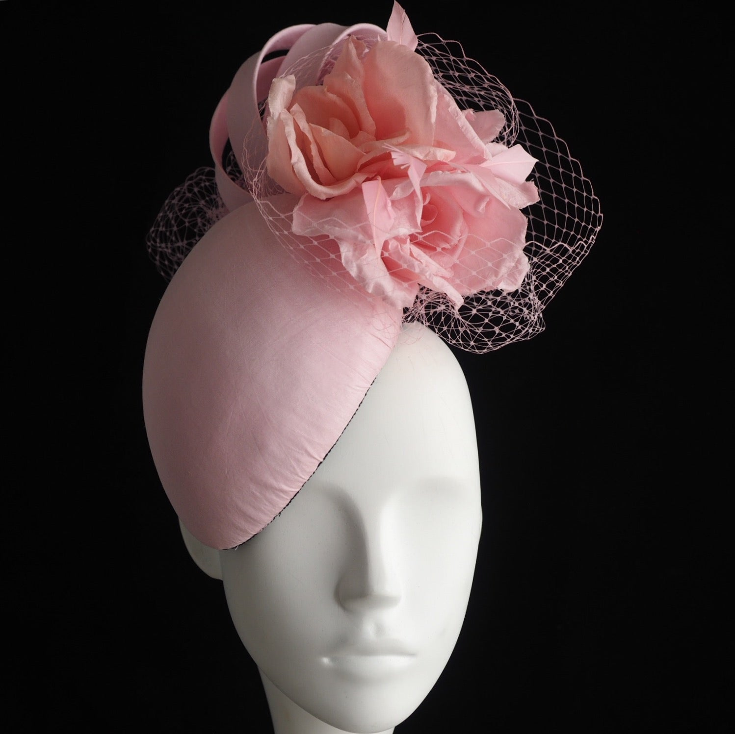 Diana  - Silk headpiece with handcrafted roses - NOELEEN MILLINERY HONG KONG