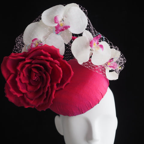Dita  - Silk hat with rose and orchids - NOELEEN MILLINERY HONG KONG
