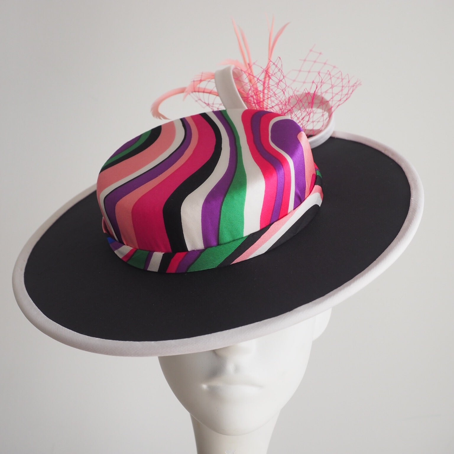 Silk Boater Hat - Multicolour silk covered contemporary hat handcrafted - NOELEEN MILLINERY HONG KONG