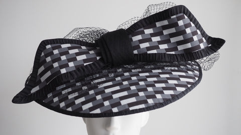 Statement Hat - Made to order other color variation available -Statement hat black and white with massive bow modern millinery - NOELEEN MILLINERY HONG KONG