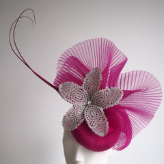 Pink Fizz -Silk and Lace Handcrafted Hat - NOELEEN MILLINERY HONG KONG